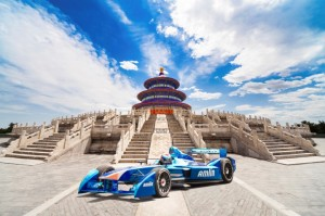 The Amlin Aguri Formula E car in China's Beijing Mega-City